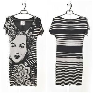 Womens-Desigual-Marilyn-Monroe-Dress-Grey-Printed-Short-Sleeve-Size-S