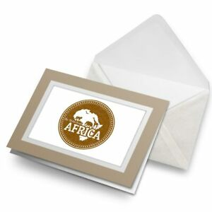 Greetings-Card-Biege-Awesome-Africa-Animals-Map-Travel-4799