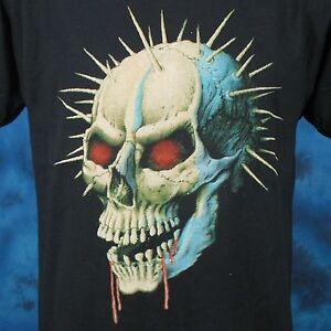 vintage-80s-DEMON-SKULL-PAPER-THIN-T-Shirt-SMALL-satan-zombie-biker-punk-rock