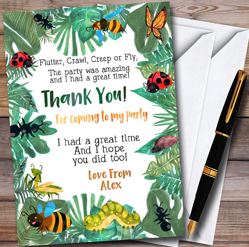 Leaves Bugs And Insects Personalised Party Thank You Cards