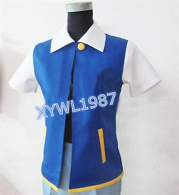 Pokemon Ash Ketchum Trainer Coat Jacket Halloween Female Male Cosplay Costumes