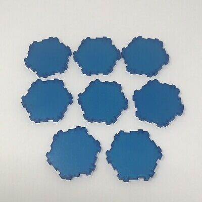 HEROSCAPE Blue SPARKLY Water HEX TILES Lot of 8 Single Hex ...