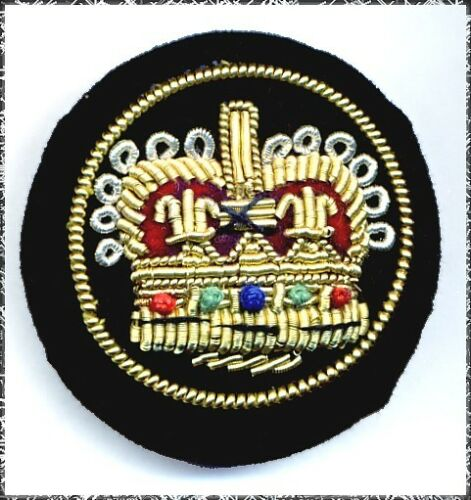 Large Fabric Button w// Embroidered Royal Crown