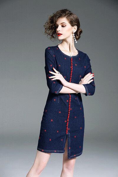 fb340f75c341 ... Vestito corto abito tubino elegante morbido rosso blu moda manica 4818  e80ef1 ...