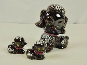 Brown-Poodles-Set-of-3-Mom-and-Two-Puppies-Ceramic-Made-in-Japan-Vintage-Deco