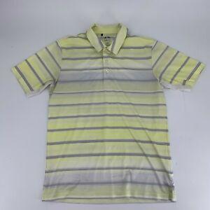 Adidas Climacool Mens Golf Shirt Size S Polo Short Sleeve Yellow White Stripe N8