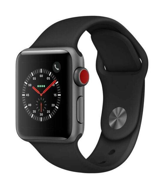 Apple Watch Series 3 (GPS+Cellular) 38mm Space Gray Aluminum Case Black Sports