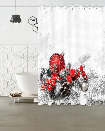 Christmas Balls 100/% Polyester Shower Curtain Bathroom Fabric Decor Bath Mat Rug