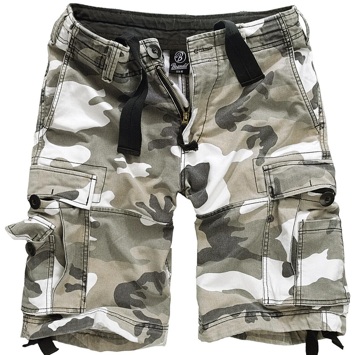 Brandit Vintage Classic Mens Army Military Cargo Combat Shorts Cotton Urban Camo