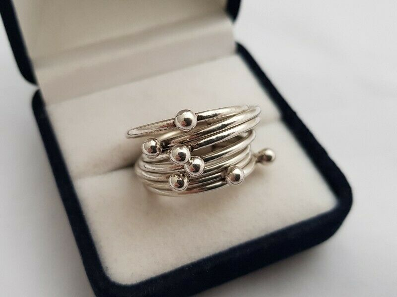 BA538 Sterling Silver Connection Bands Ring