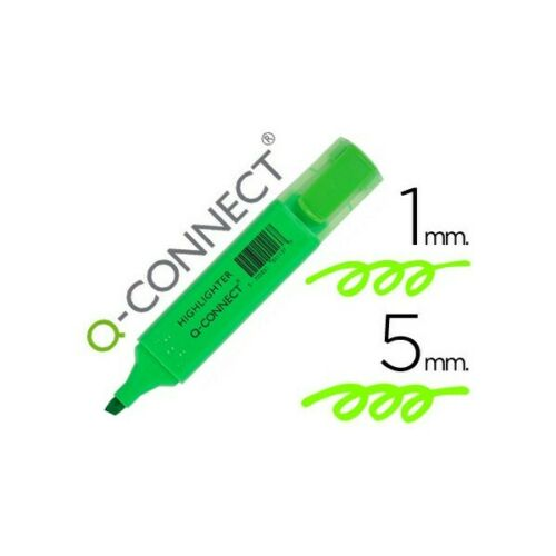 Rotulador q-connect fluorescente verde punta biselada Pack de 10 uds.