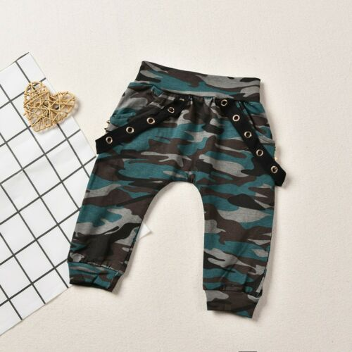 Toddler Kids Baby Boys Letter Tops T-shirt+Camouflage Pants Sets Clothes Outfits