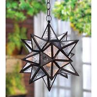 Moravian Indoor Outdoor Oversized Star Hanging Lantern Swag Light Candle Holder
