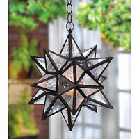 Moravian Indoor Outdoor Oversized Star Hanging Lantern Swag Light Candle Holder