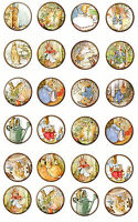 Beatrix Potter Round Stickers Bottlecap 30 1.5 20 2 Glossy Paper Crafts
