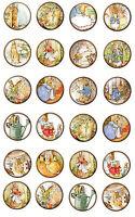 Beatrix Potter Round Stickers Bottlecap 30 1.5 20 2 Glossy Paper Crafts