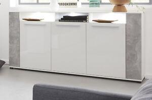Sideboard Glanz weiß und Beton Design Kommode Wohnzimmer Anrichte ...