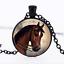 Blazing Star cheval en verre noir cabochon Chaîne Collier Sautoir Pendentif Wholesale