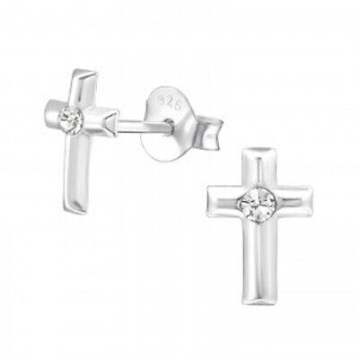 Bescheiden Mädchen Kinder 925 Sterling Silber Kristall Kreuz Ohrstecker Gebohrt Neu