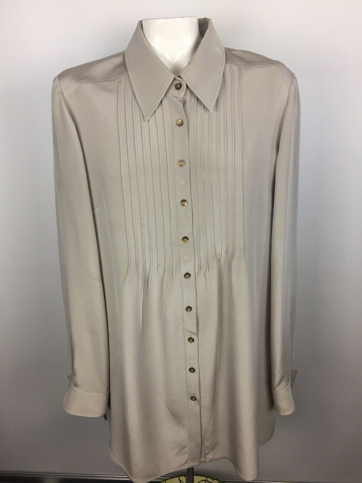 St. John damen Sz 12 Beige Pin-Tuck Tunic Blouse Long Sleeve Silk Button Front