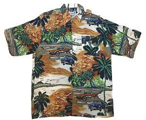 Vintage sechziger Jahre Aloha shirts Classic Silky Rayon Hawaii Autos Print Shirt sz L