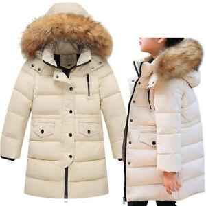 a58fa9ba7c79 Kids Girls Winter Warm Cotton Down Jacket Hooded Coat Parka Puffer ...