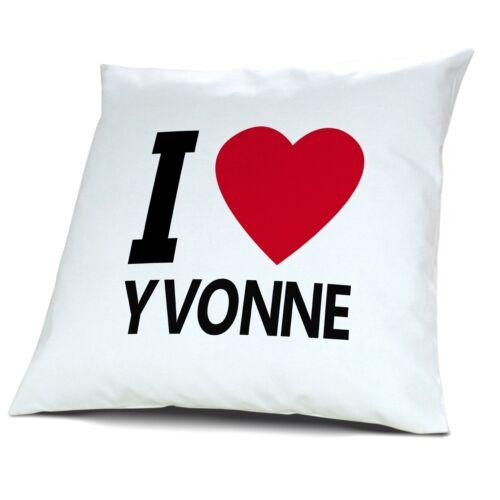 """Kopfkissen mit Namen Yvonne Motiv /""""I Love Yvonne/"""""""