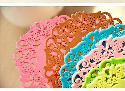 """NEW 10pcs Colorful 4""""Inch Flower silicone coasters Doilies Craft Doilies Wedding"""