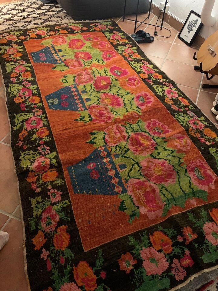Gulvtæppe, ægte tæppe, Håndlavet kelimtæppe