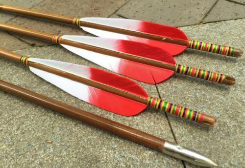 6 Stk Truthahnfedern Bambuspfeile Spine 35-50 Holzpfeile Bogensport