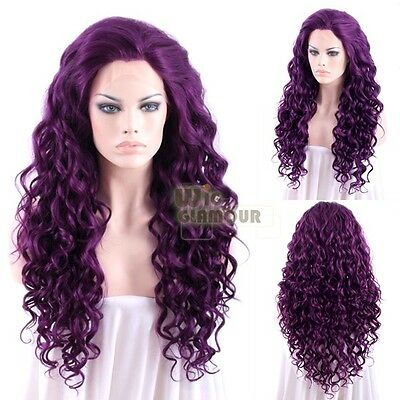 "Long Spiral Curly 26"" Dark Purple Lace Front Wig Heat Resistant"