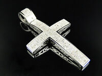 Large Genuine Diamond Cross Pendant Charm 1.25 Ct In 10k White Gold Finish on sale