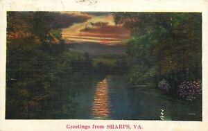 Sharps-Virginia-Sunset-Over-Rappahannock-River-1938-Linen-Postcard