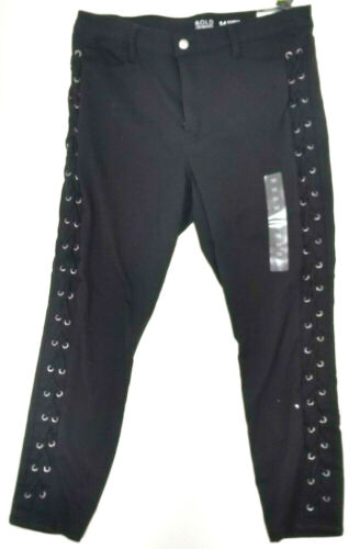 Bold Elements Womens Size 14 Black Lace Up Side Cropped Curvy Skinny Jeans