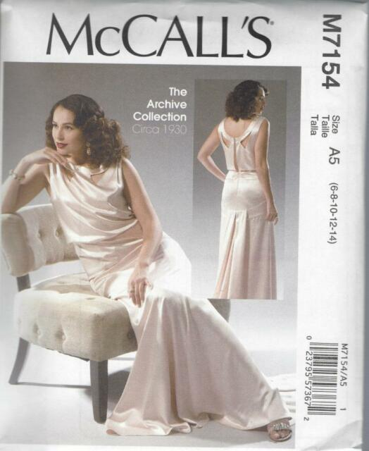 McCalls 7154 Archive Collection 1930s Evening Gown Dress Sewing ...