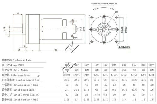 ZGA60FM-G DC 12V 24V Rotate Speed Connector 8mm Dia Shaft Geared Motor 5-1200RPM