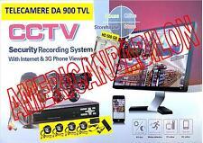 KIT VIDEOSORVEGLIANZA 4 TELECAMERA INFRAROSSI+DVR+ALIMENTATORE+CAVETTERIA+HD 1TB
