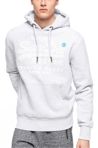 Superdry Premium Goods Logo Gemeinkosten Kapuzenpulli Eis Mergel Grau