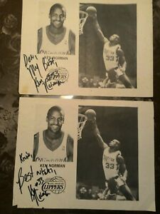 Ken Norman Los Angeles Clippers Autographed Photo Pair