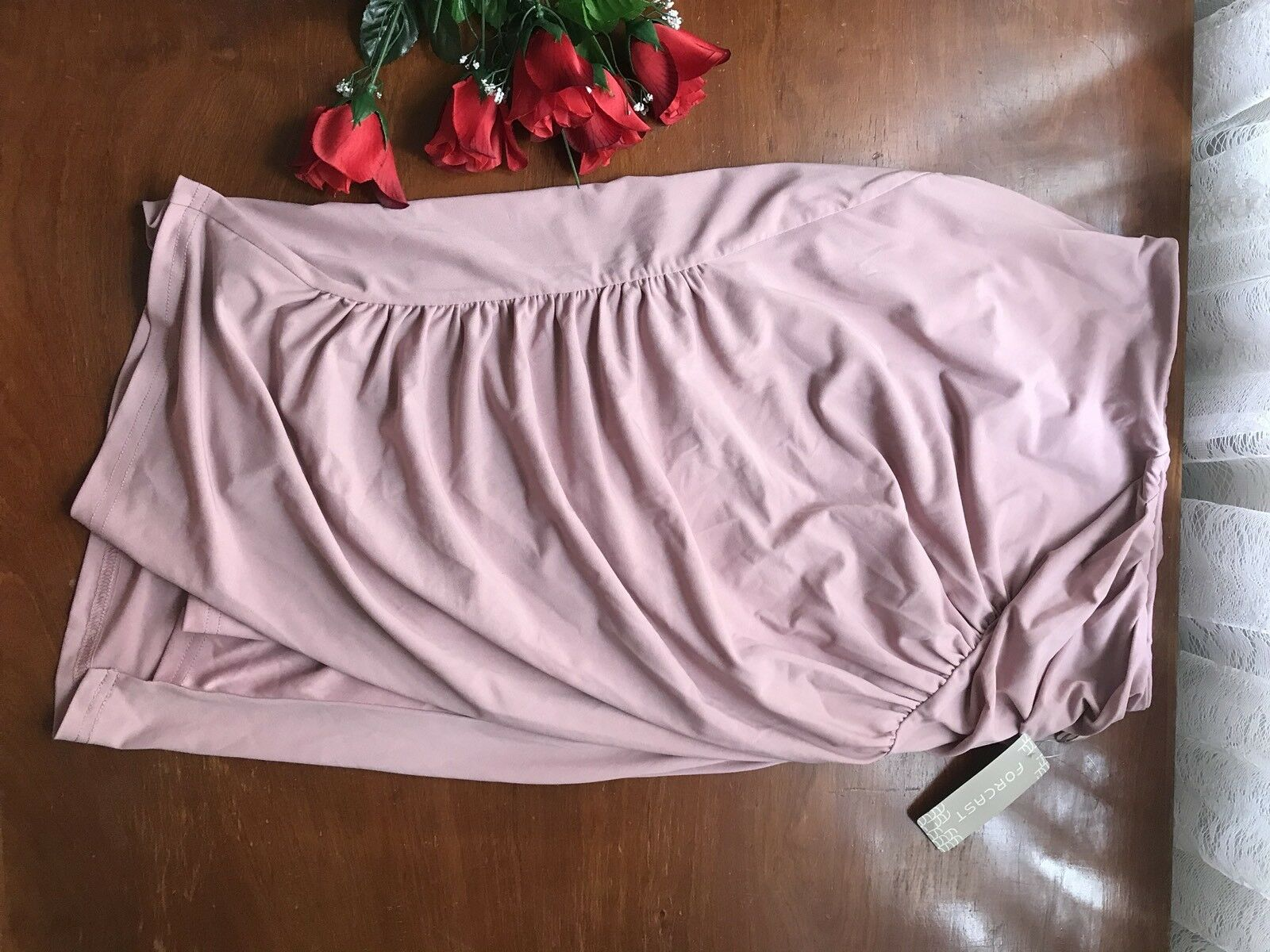 Brand New With Tags Forecast Mauve Pink Roxie Drape Midi Skirt Size 8 Fit 10-12