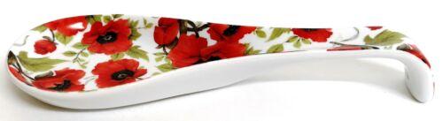 Red Poppy Ceramic Spoon Rest 22cm Medium Poppies Porcelain Spoon Decorated UK