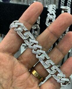 14k White Gold Plated Men's Round & Baguette Sim Diamond Classic Chain Bracelet