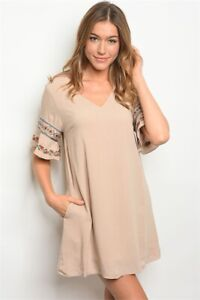 New-Love-Riche-Beige-Embroidered-Floral-Aztec-Western-Lined-Dress-Tunic-S-M-L