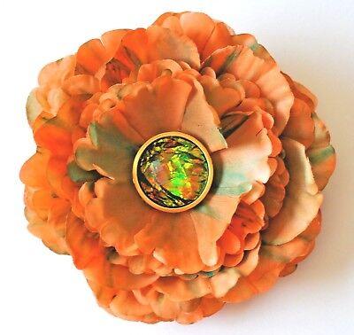 "4/"" Orange /& White Polka Dots Peony Artificial Silk Flower Hair Clip Handmade"