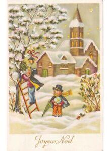 Immagini Vintage Natale.Neve Bambini Giardino Decorazioni Natalizie Cartolina Vintage Natale Noel Ebay