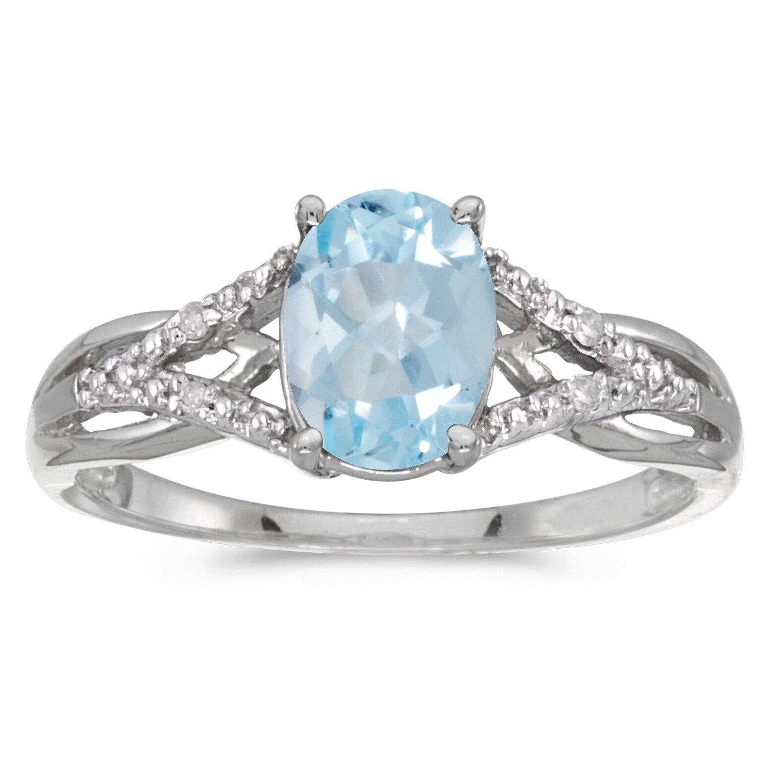 14k White gold Oval Aquamarine And Diamond Ring