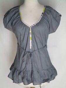 Ethos-Paris-Olive-Green-Cotton-Tunic-Top-M-Ruffled-Tie-Belt