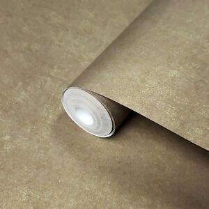 Modern-Wallpaper-Brown-Gold-Metallic-Plain-non-woven-wall-coverings-double-rolls