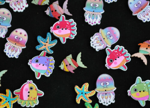 Mixed bag of sea theme wooden buttons embellishments.Fish Starfish Jellyfish