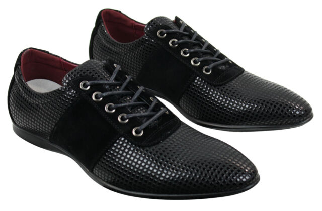 Mens Smart Casual Laced Shoes Brown Black Patent Suede Leather Formal